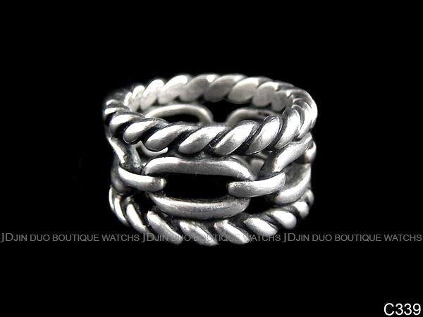 金鐸精品~C339 GUCCI 古馳 925 純銀 螺旋馬銜鍊 仿舊處理 造型戒指