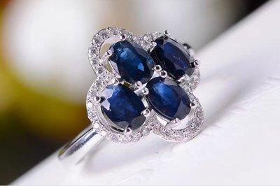天然藍寶石戒指 (頭等艙精品)現貨不用等 寶石屬山東礦區 天然無燒 銀镀白金