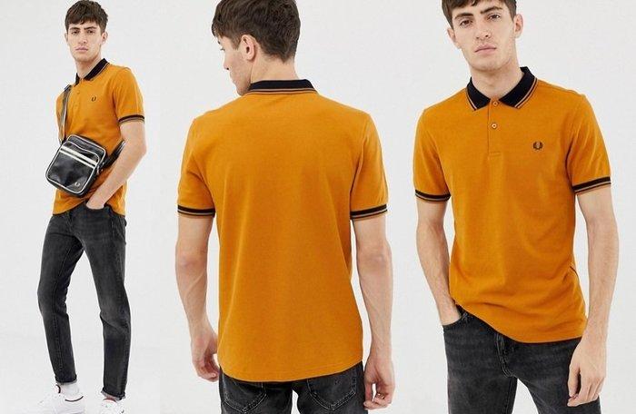 ◎美國代買◎ASOS代買Fred Perry 黑配黃裝飾領口與袖口的復古經典款logo poly衫~英倫潮牌街風~大尺碼