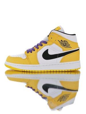 """Air Jordan 1 Mid """"Lakers""""復古 休閑運動 籃球鞋""""湖人紫金白""""852542-700 男女鞋"""