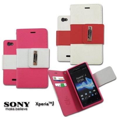 UNIPRP【SJ01】Metal-Slim SONY Xperia J st26i TPU雙色書本側掀 保護套 手機套