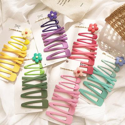 【媽媽倉庫】 繽紛糖果色側邊一字髮夾 7入組 頭飾 髮飾