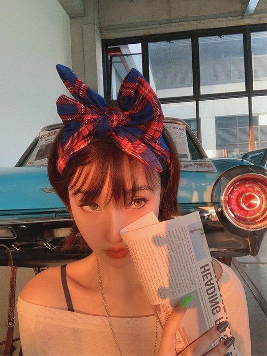 【鈷藍家】原創設計獨特小眾帽飾文藝復古格子蝴蝶結寬邊髮箍JK學院風頭飾頭箍髮卡