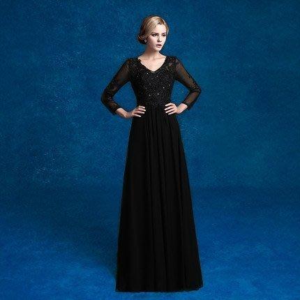 大小姐時尚精品屋~~實拍~修身顯瘦黑色宴會長禮服 ~3件免郵