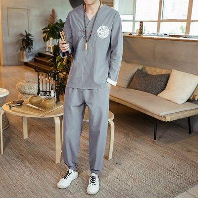 【型男風尚】AZ1264*M-5XL 中國風男裝 漢服 棉麻套裝 大碼 3色