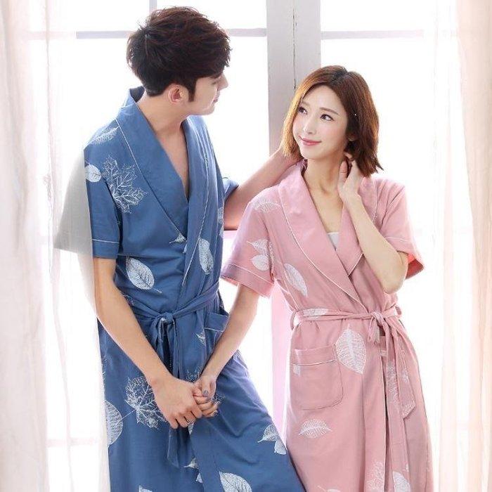 YEAHSHOP 夏季情侶睡袍女士棉質浴袍薄款短Y185