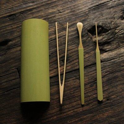 【自在坊】手工保青茶勺茶針四件套裝茶則 日本茶勺 竹制茶則  茶道配件 茶匙茶剷 功夫茶具 茶藝茶道六君子 茶具