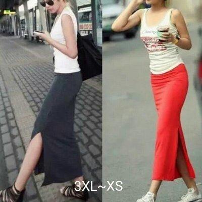 粉粉大尺碼~GZK03加大碼歐美夏季新款側開叉直筒裙3XL~L