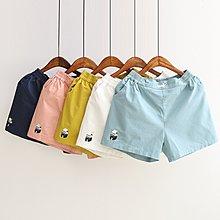 【49198】褲子  日系森女系牛奶盒刺繡短褲☆*藍荳荳小舖*☆(現貨)