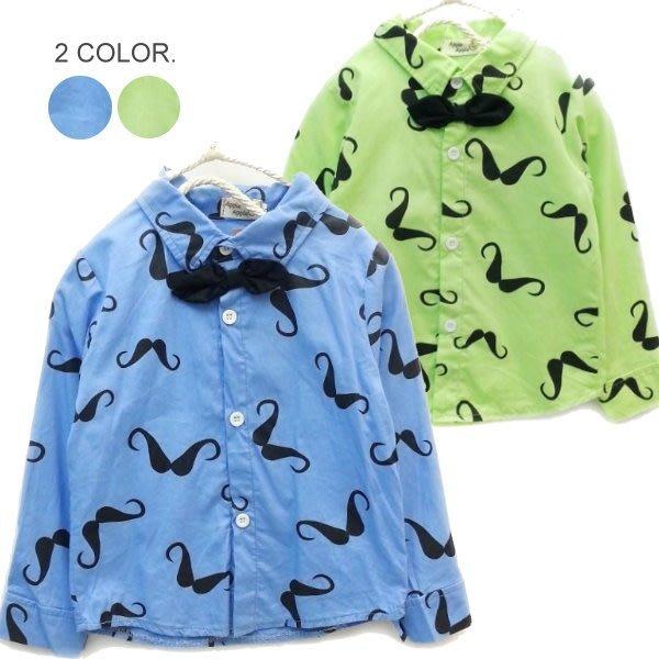 【班比納精品童裝】滿版翹鬍子領結襯衫-藍/綠--兩色可選