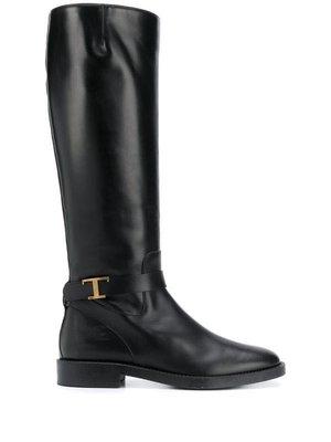 Tod's logo plaque knee-high boots 女Logo扣環平底長靴 限時折扣代購中