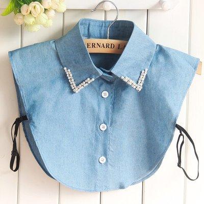 假領子襯衫領片-水鑽珍珠牛仔藍色女裝配件73vk45[獨家進口][米蘭精品]