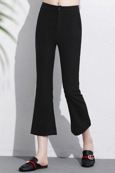 春夏季黑色韓版薄款修身職業工作正裝高腰彈力小微喇叭西褲女九分