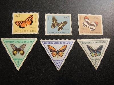 【大三元】非洲郵票-莫三比克郵票-F27各國蝴蝶專題郵票-新票6枚-原膠