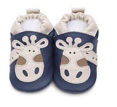 【愛寶貝】英國 shooshoos 健康無毒真皮手工學步鞋/嬰兒鞋/室內保暖鞋_海軍藍長頸鹿_ANV10(公司貨)