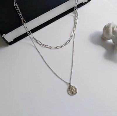 戒情人💕小個性 雙層 小圓女王牌 造型 項鍊 百搭 銀色 韓妞 韓版