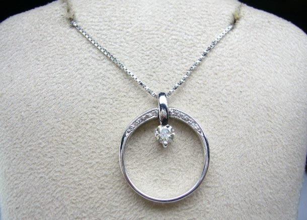 [吉宏精品交流中心]33分 南非天然鑽石 白K金 戒指 墬子(兩用)