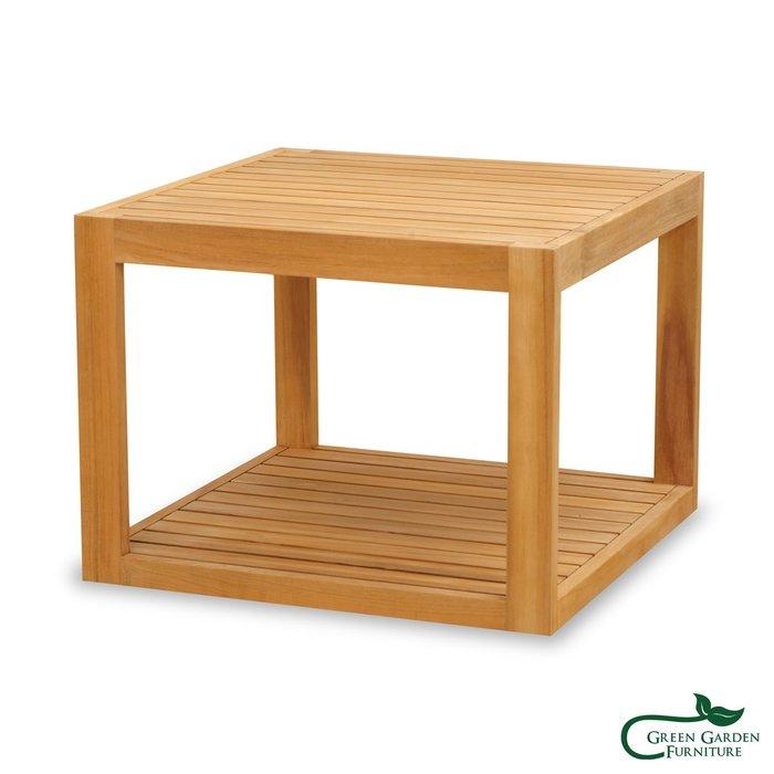 墨西哥 柚木邊桌-66(上下條/原色)【大綠地家具】100%印尼柚木實木/無上漆原木款/實木邊几