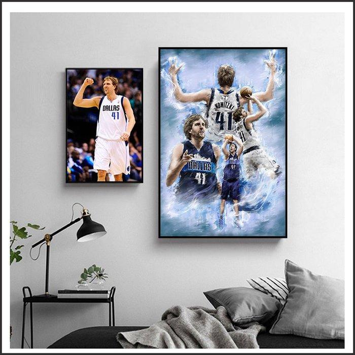 日本製畫布海報 NBA 諾威斯基 Dirk Nowitzki 小牛 掛畫 嵌框畫 @Movie PoP 賣場多款海報#