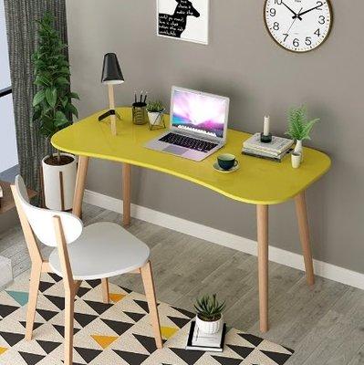 『i-Home』北歐書桌台式家用臥室長弧形烤漆電腦桌簡約現代兒童學習辦公桌子