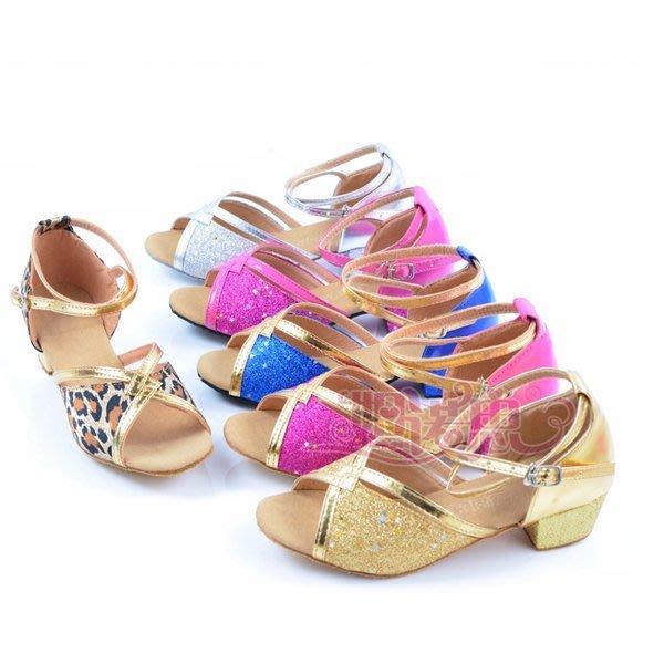 5Cgo【鴿樓】會員有優惠 36580075534 女童拉丁舞鞋中跟兒童舞蹈鞋軟底練功鞋少兒交誼舞鞋