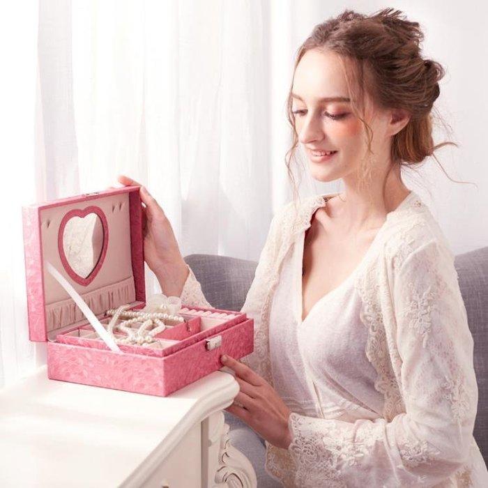 首飾盒公主歐式韓國珠寶帶鎖手飾品木質簡約耳釘耳環首飾收納盒大
