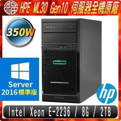【阿福3C】HP ML30 Gen10 商用伺服器 E-2236/ECC 8G/2TB/2016STD/350W/3Y