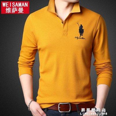 秋裝男士長袖新款T恤潮流刺繡POLO衫有領帶領上衣服男裝衛生衣體桖【楠木傾城】