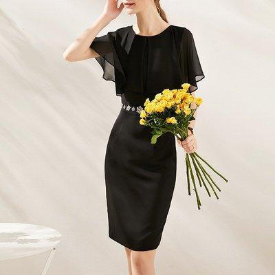 ♈尹愛服飾♈高端3007209名媛披肩式一體袖修身顯瘦雪紡連衣裙