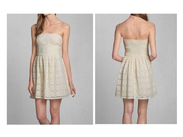 A&F Abercrombie&Fitch AF 麋鹿Tessa Dress平口蕾絲洋裝連身裙鬆緊ABC WEAR現貨白