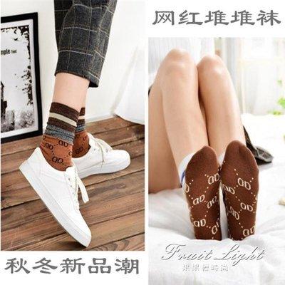 4雙 長襪子女韓版純棉金銀絲堆堆襪日系復古亮絲百搭中筒襪潮