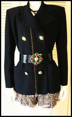 歐陸品牌深黑色軍裝雙排金扣外套短大衣(不含拜占庭腰帶)