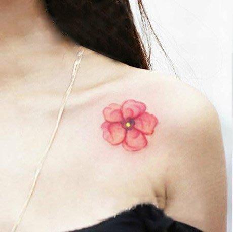 【萌古屋】L系列紅色花朵 - 男女防水紋身貼紙原宿刺青貼紙