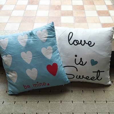 ☜shop go☞【V45】愛心字母鹿皮絨抱枕 靠枕 枕頭 方枕 靠墊 沙發 枕墊 護腰 枕芯 枕套 可拆洗