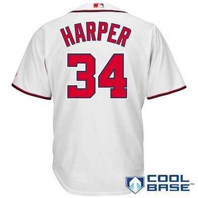 Bryce Harper Majestic White Home Cool Base Player Jersey