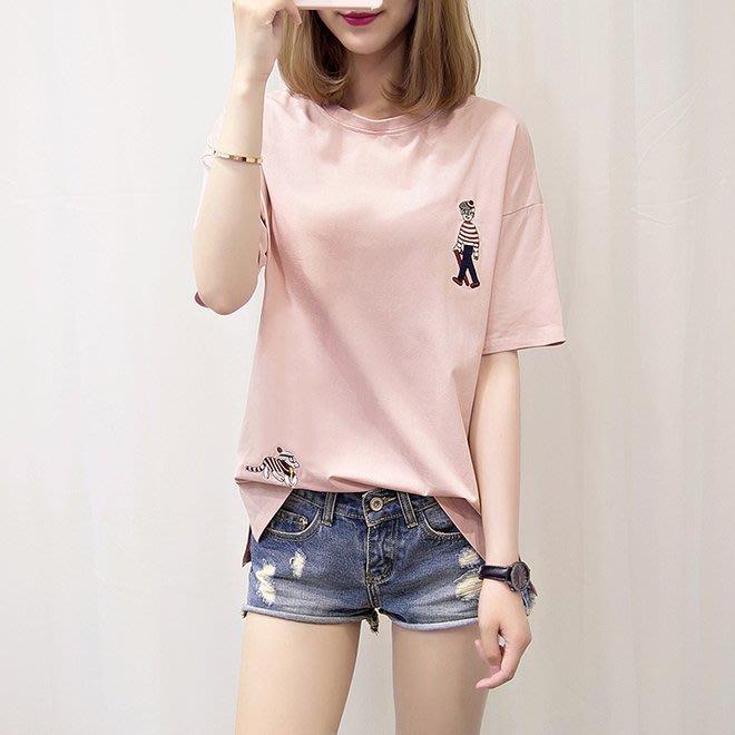 FINDSENSE G6 韓國時尚潮流 少女2019新款夏裝寬鬆大尺碼短袖T恤刺繡圓領上衣打底圓領T恤