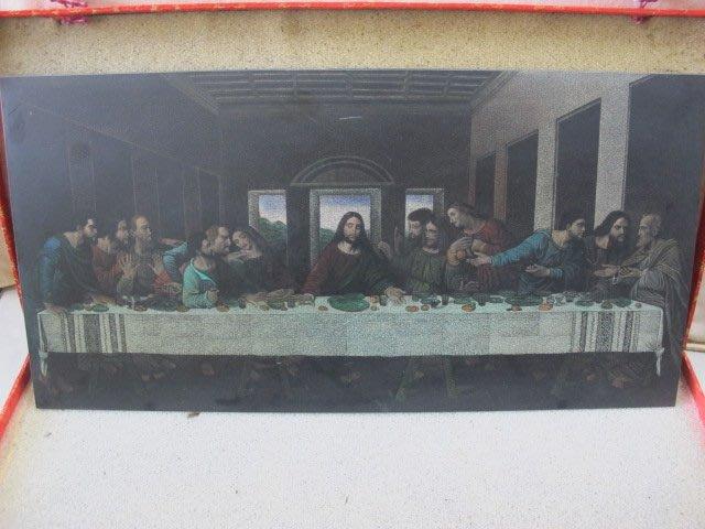 二手舖 NO.2916 大理石版畫 複製畫 耶穌 最後的晚餐 擺件 早期收藏 值得收藏