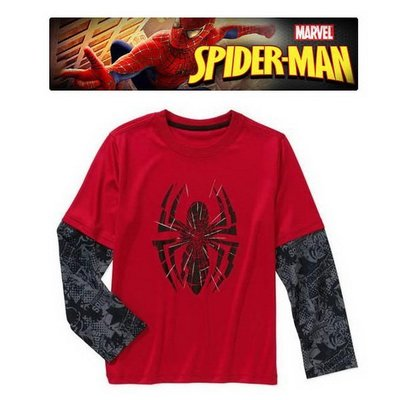 美國SPIDERMAN蜘蛛人紅底黑袖速乾材質假二件式長袖T恤(120CM適用)官網同步~