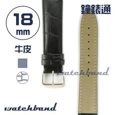 【鐘錶通】C1.10AA《霧面系列》鱷魚格紋-18mm 霧面黑┝手錶錶帶/皮帶/牛皮錶帶┥