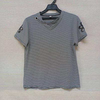 👠 4167👗-百搭經典黑白條紋V領短T上衣-(XL)