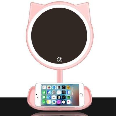 哆啦本鋪 LED化妝鏡帶燈 梳妝臺式充電大號補光公主抖音少女心學生鏡子燈 D655