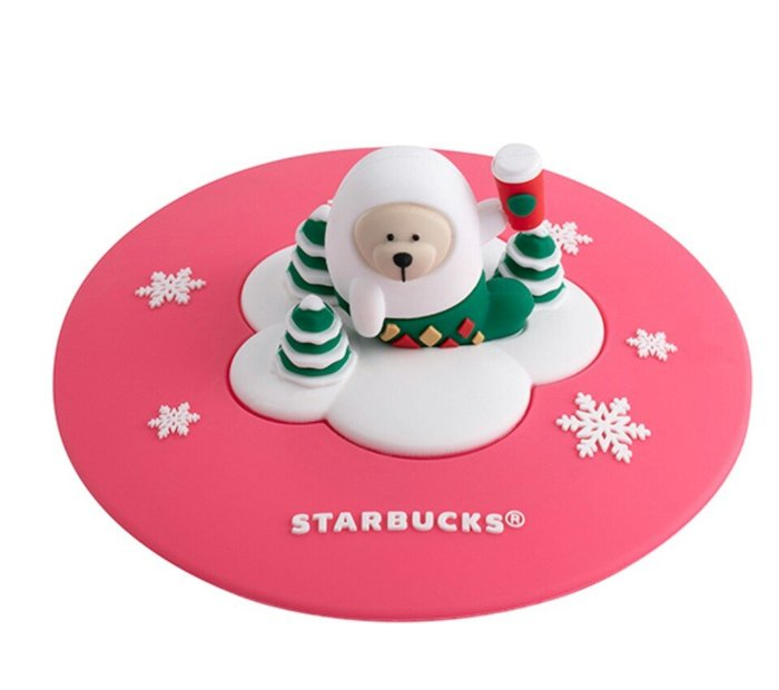 天使熊雜貨小舖~Starbucks 星巴克海豹小熊矽膠杯蓋 全新現貨