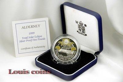 【Louis Coins】F002‧Alderney‧1999奧爾德尼島‧日全蝕精鑄紀念銀幣