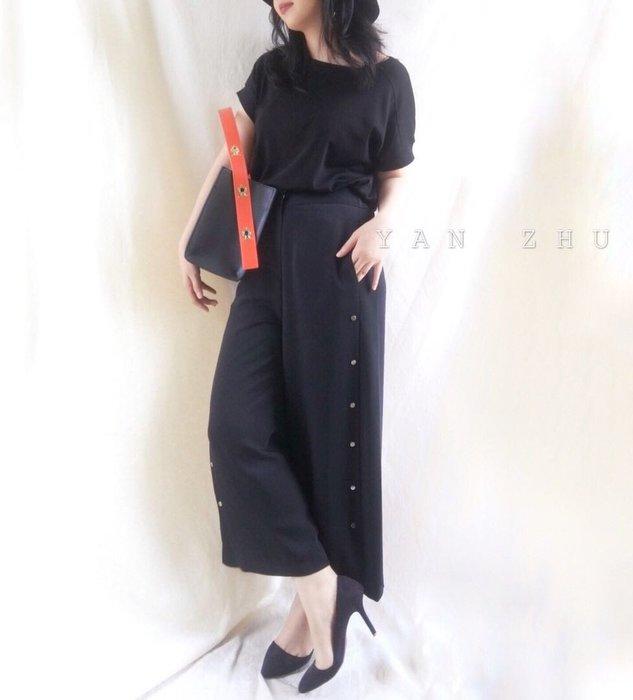 [Y A N  Z H U]韓 冷淡風簡約金屬圓卯釘裝飾高腰寬褲 現貨+預購