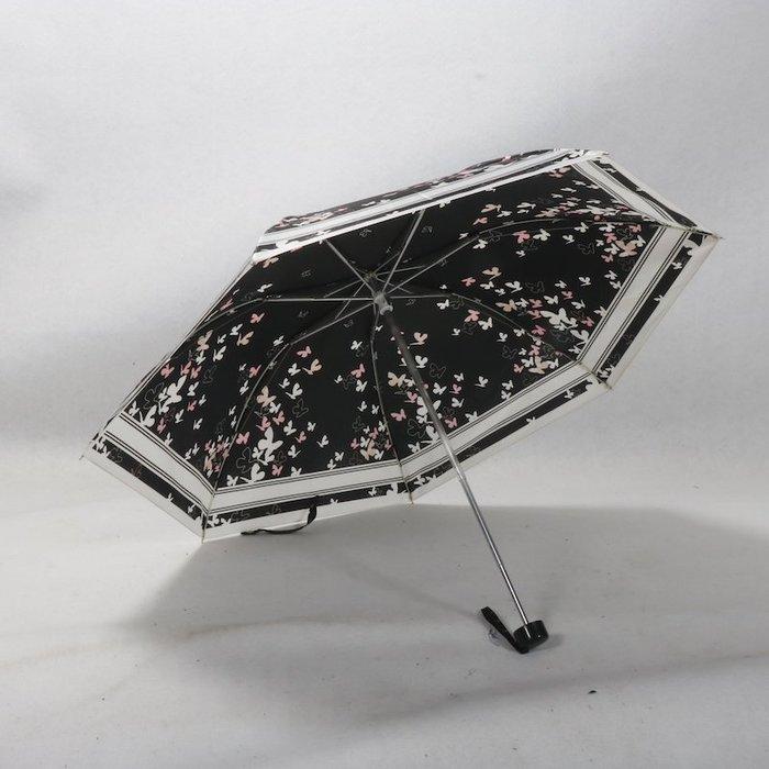 奇奇店-亮面黑蝴蝶色丁女士折疊鋁合金輕質外折疊晴雨傘#加固 #小清新 #晴雨兩用