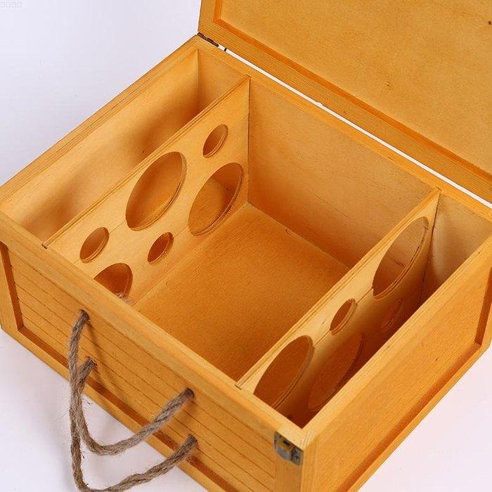 高檔紅酒箱六支紅酒木盒包裝盒實木6支裝定制紅酒盒子葡萄酒禮盒
