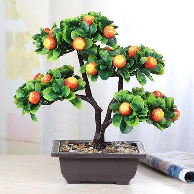 仿真綠植塑料花水果假果樹小盆景盆栽蘋果橘子桃子家居擺放YTL