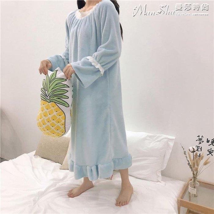 熱銷睡裙秋裝韓版可愛毛絨絨加厚荷葉邊長袖睡衣連身裙學生睡裙家居服