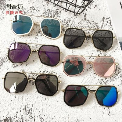 (問香坊)歐美大框太陽鏡男女百搭時尚顯瘦墨鏡網紅同款港風飛行員復古眼鏡