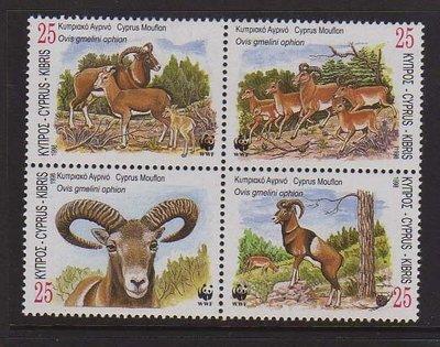 【雲品】塞浦路斯Cyprus 1998 Sc 920-923 WWF set MNH